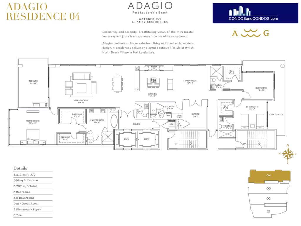 ADAGIO Fort Lauderdale Beach - Unit #Residence 04 with 3211 SF