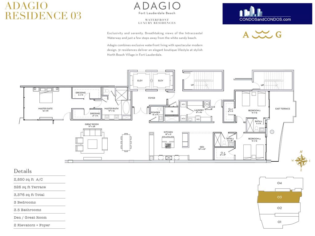 ADAGIO Fort Lauderdale Beach - Unit #Residence 03 with 2850 SF