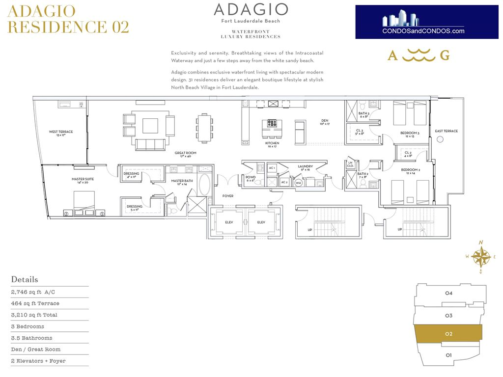 ADAGIO Fort Lauderdale Beach - Unit #Residence 02 with 2746 SF