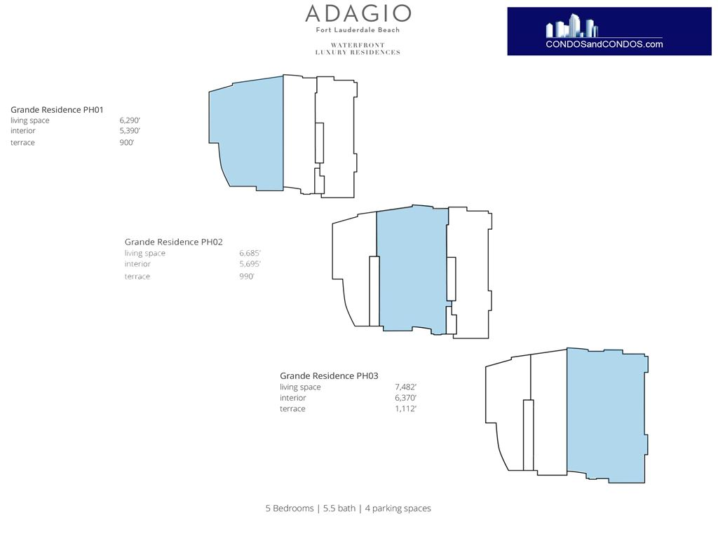 ADAGIO Fort Lauderdale Beach - Unit #Grande Penthouse Residences with 6370 SF