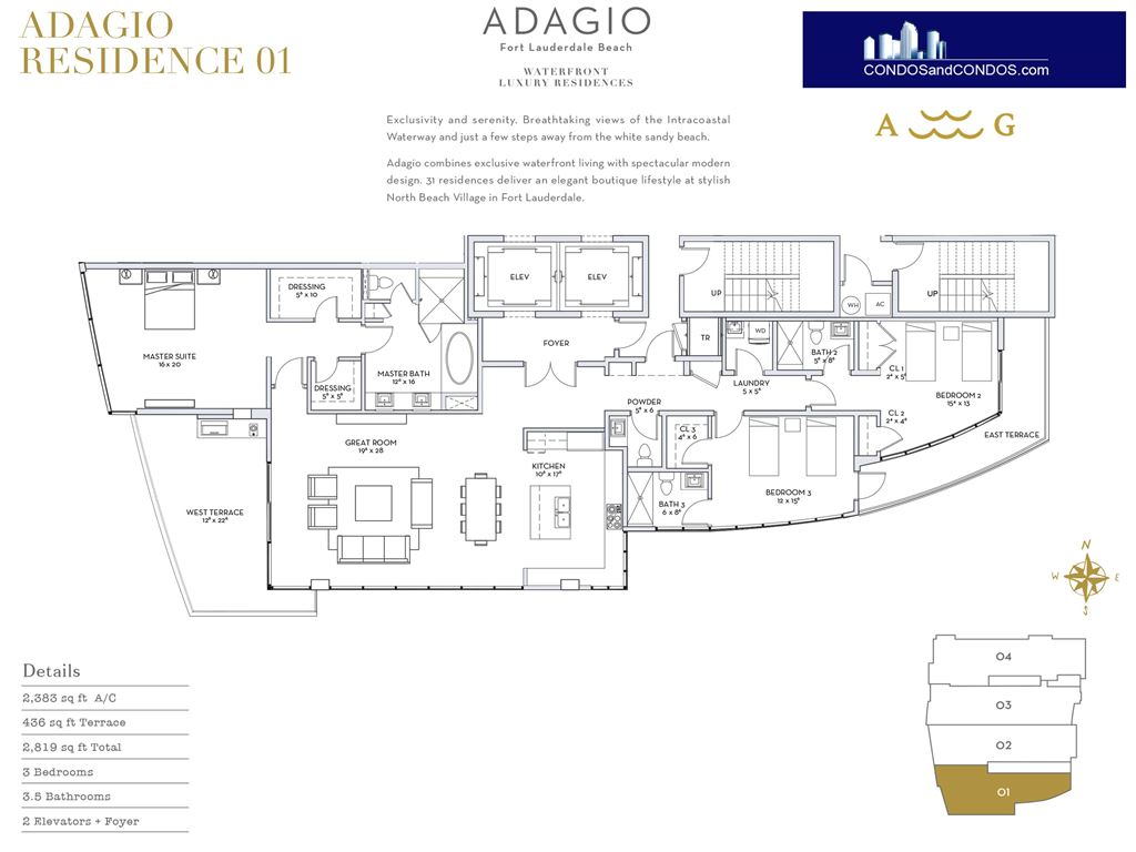 ADAGIO Fort Lauderdale Beach - Unit #Residence 01 with 2383 SF