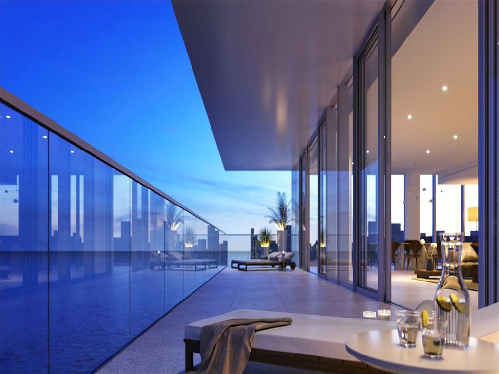 Floor to ceiling sliding glass walls opening to 10-foot deep terraces w/ Atlantic Ocean & Intracoastal Waterway Views
