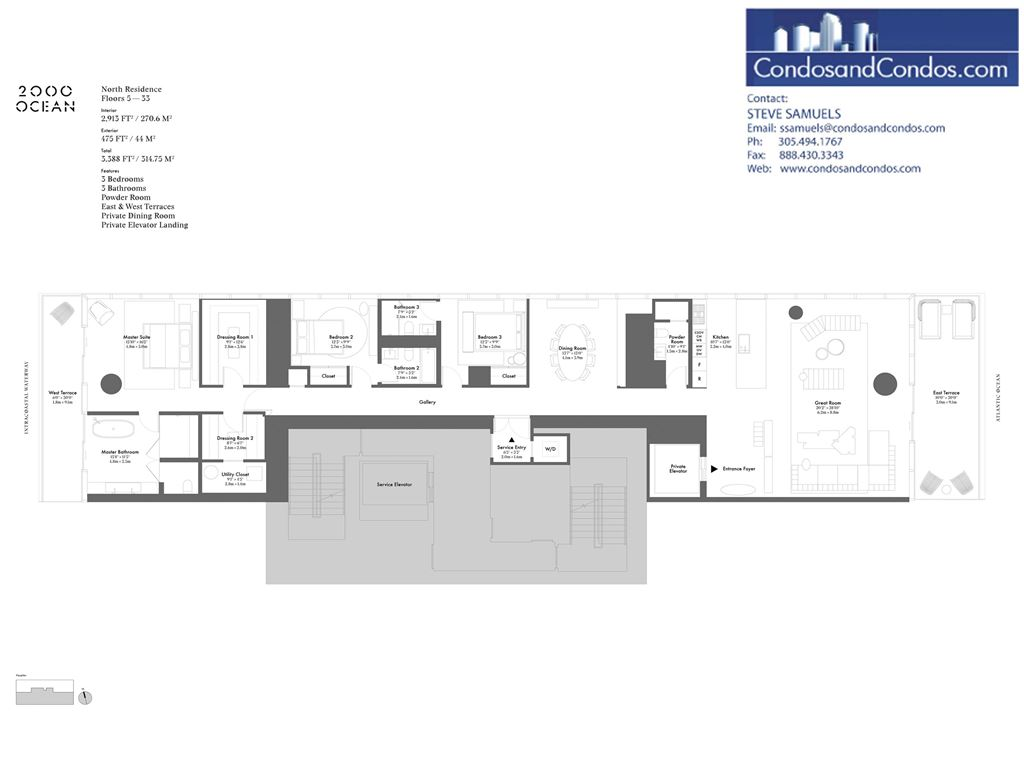 2000 OCEAN - Unit #North Residence - Floors 5 - 33 with 3388 SF