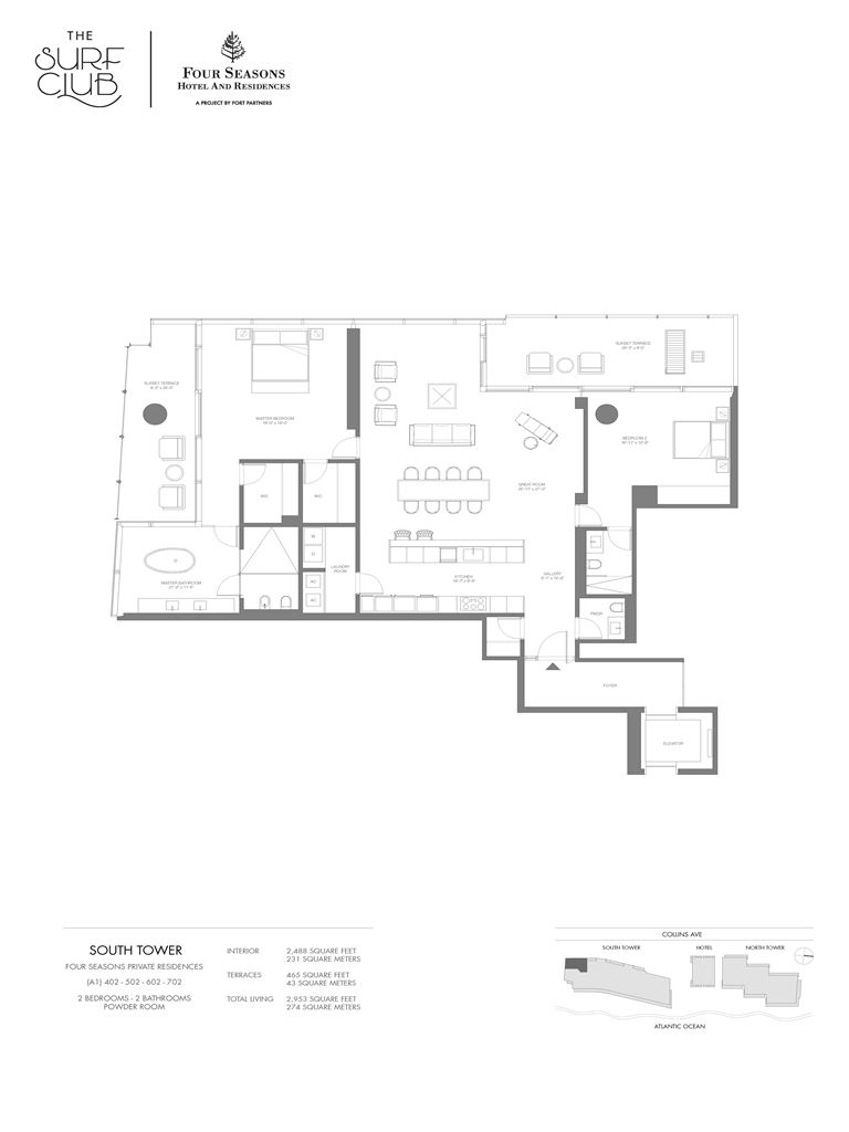 Surf Club Four Seasons Residences - Unit #402-702-S with 2488 SF