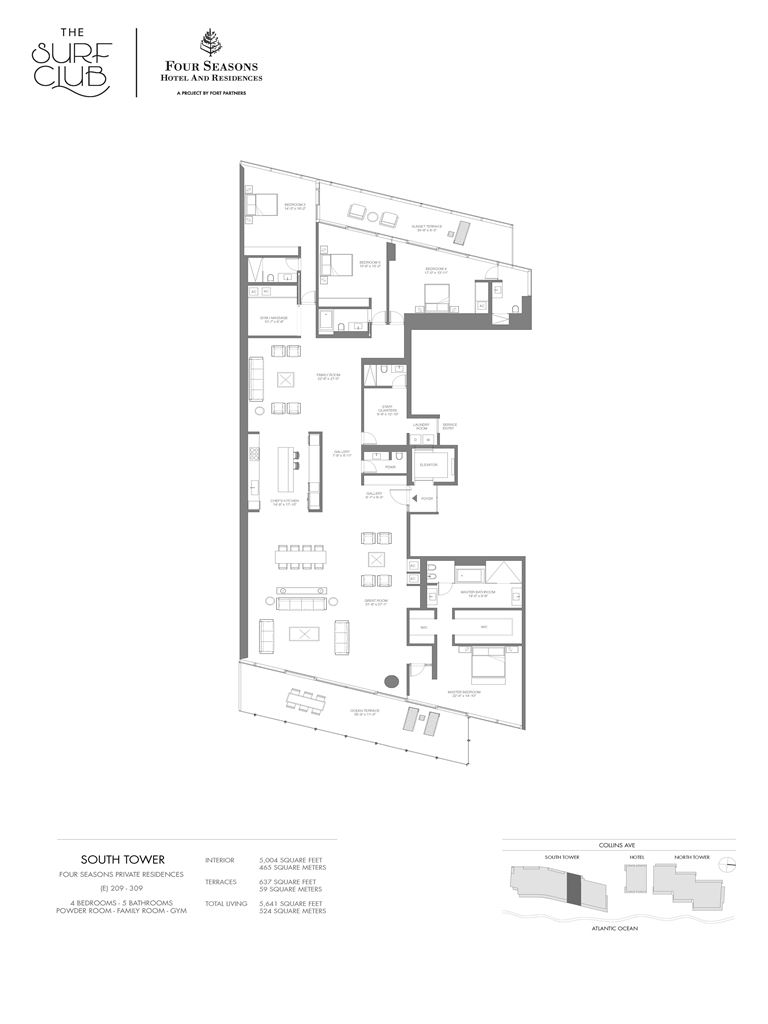 Surf Club Four Seasons Residences - Unit #209-309-S with 5004 SF