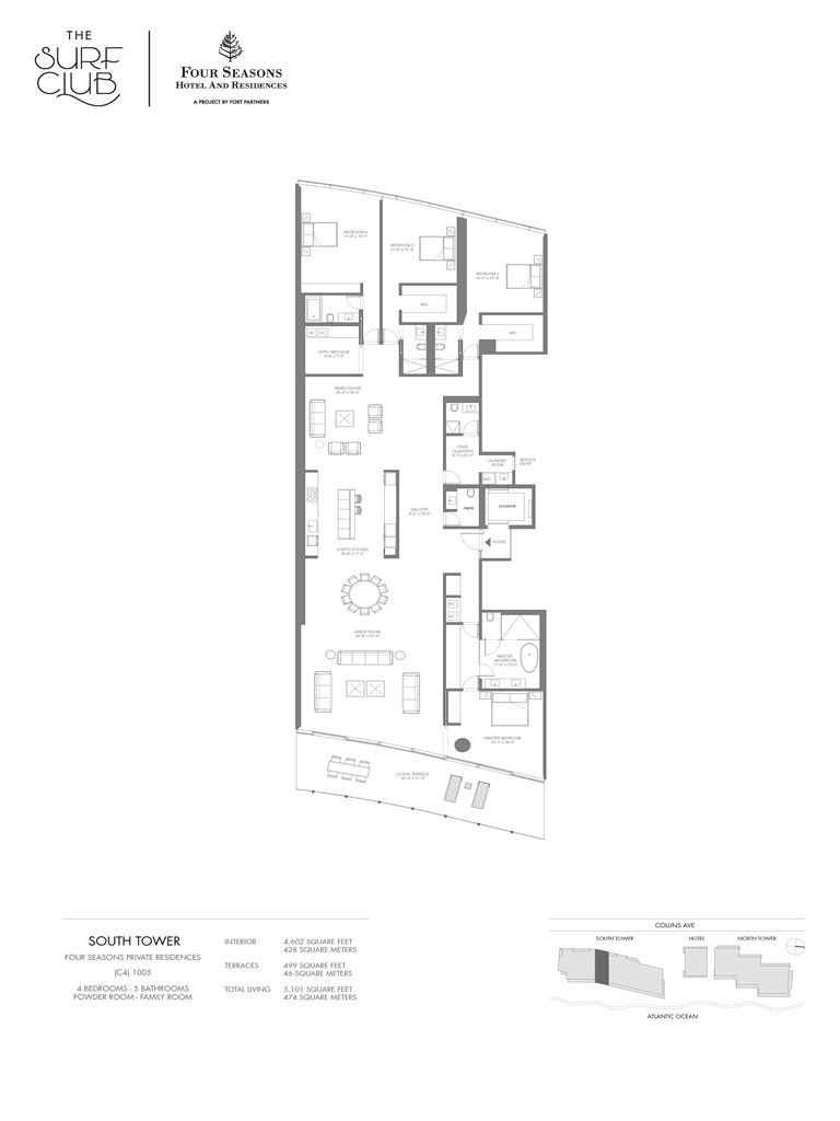 Surf Club Four Seasons Residences - Unit #1005-S with 4602 SF