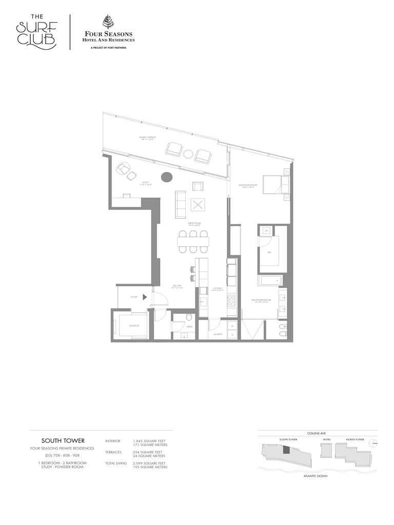 Surf Club Four Seasons Residences - Unit #708-908-S with 1845 SF