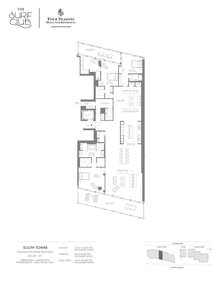 Surf Club Four Seasons Residences - Unit #207-307-S with 4375 SF