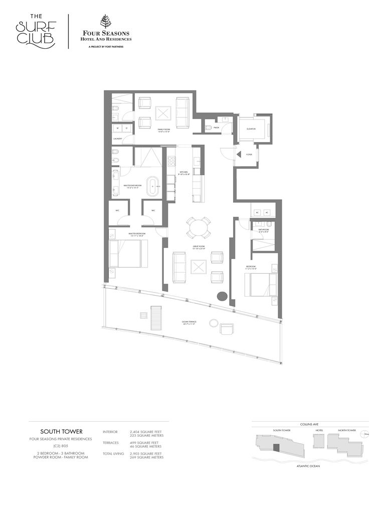 Surf Club Four Seasons Residences - Unit #805-S with 2204 SF