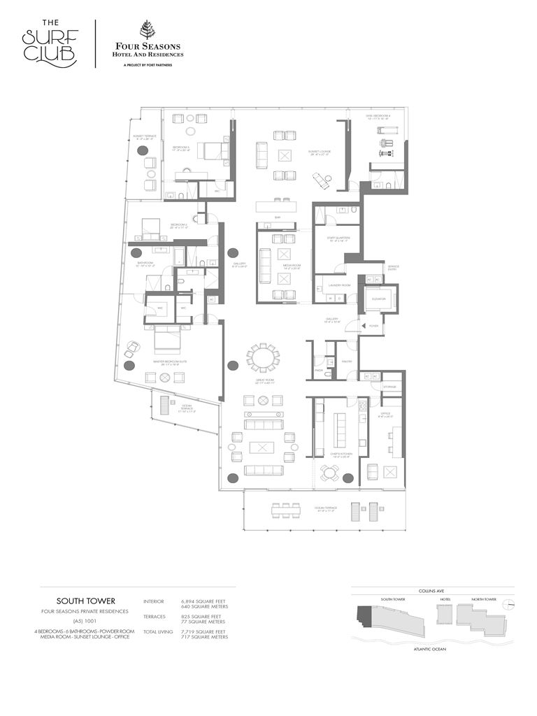 Surf Club Four Seasons Residences - Unit #1001-S with 6894 SF