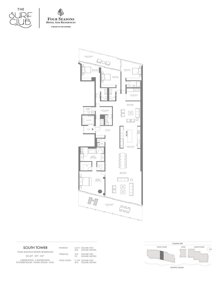 Surf Club Four Seasons Residences - Unit #407-607-S with 4351 SF
