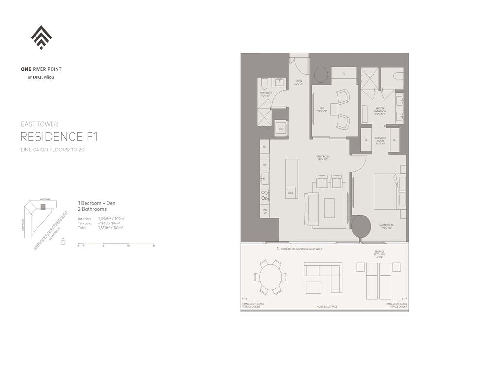 One River Point - Unit #04-E-Floors-10-50 with 914 SF