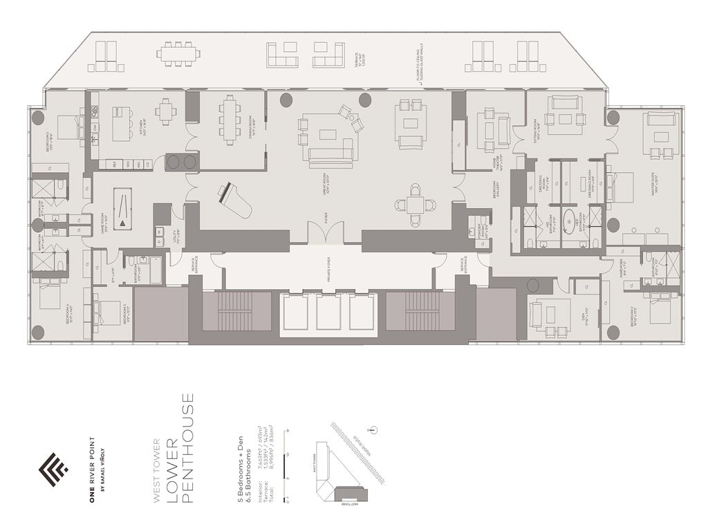One River Point - Unit #LPH-W with 7463 SF