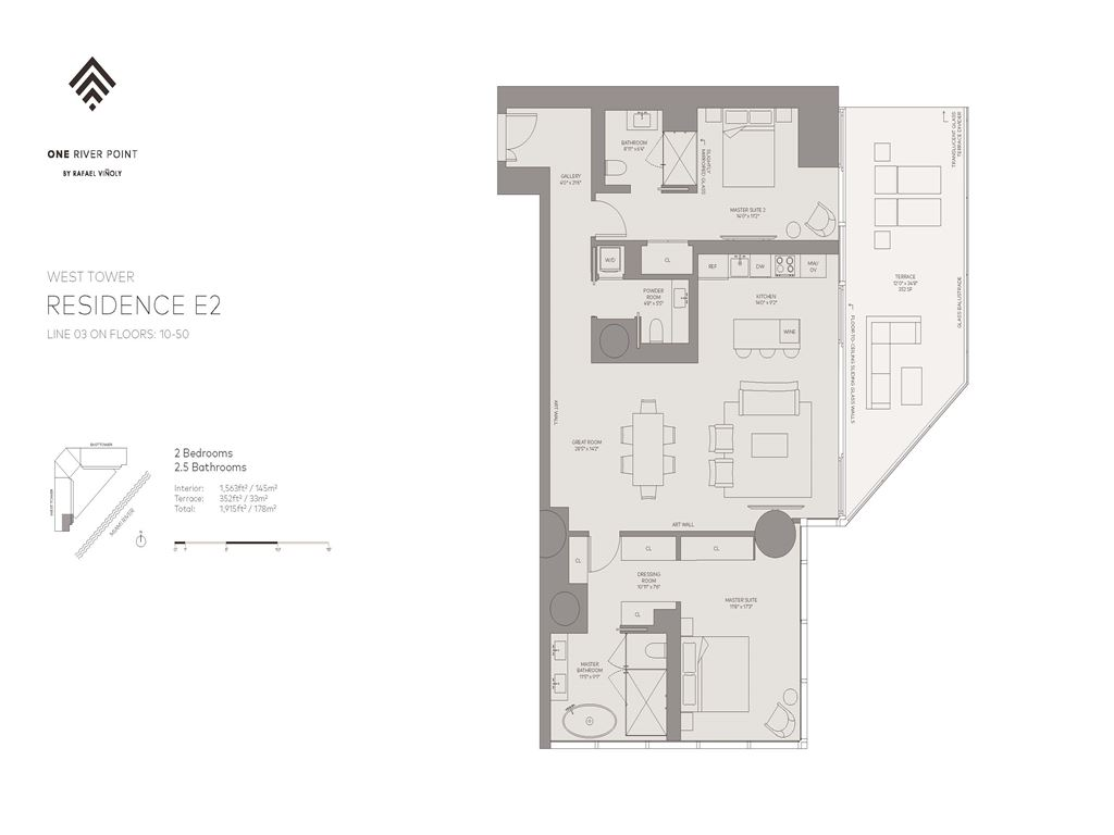 One River Point - Unit #03-W-Floors-10-50 with 1563 SF