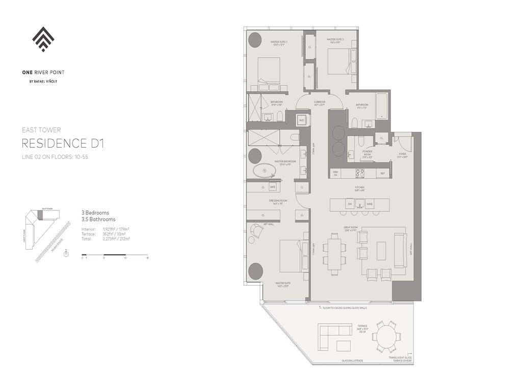 One River Point - Unit #02-E-Floors-10-55 with 1921 SF