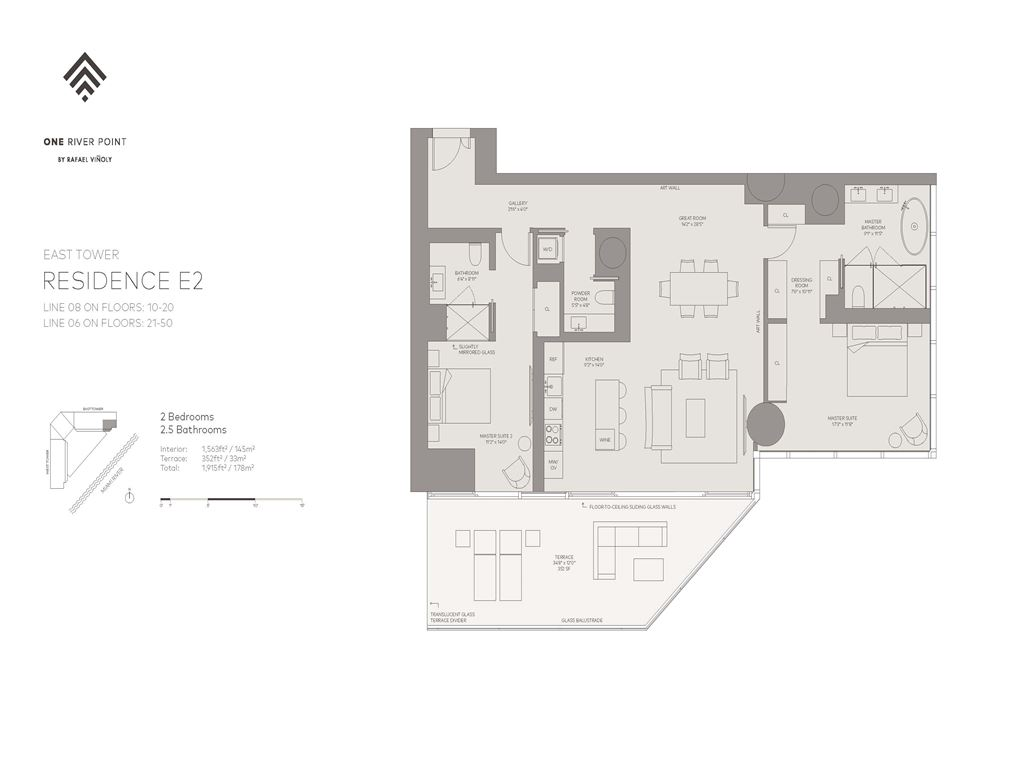 One River Point - Unit #08-E-Floors-10-50 with 1563 SF