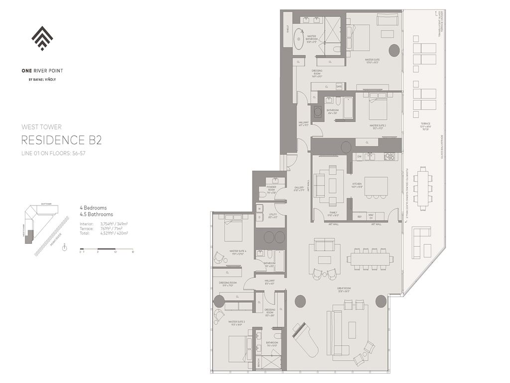 One River Point - Unit #01-W-Floors-56-57 with 3754 SF