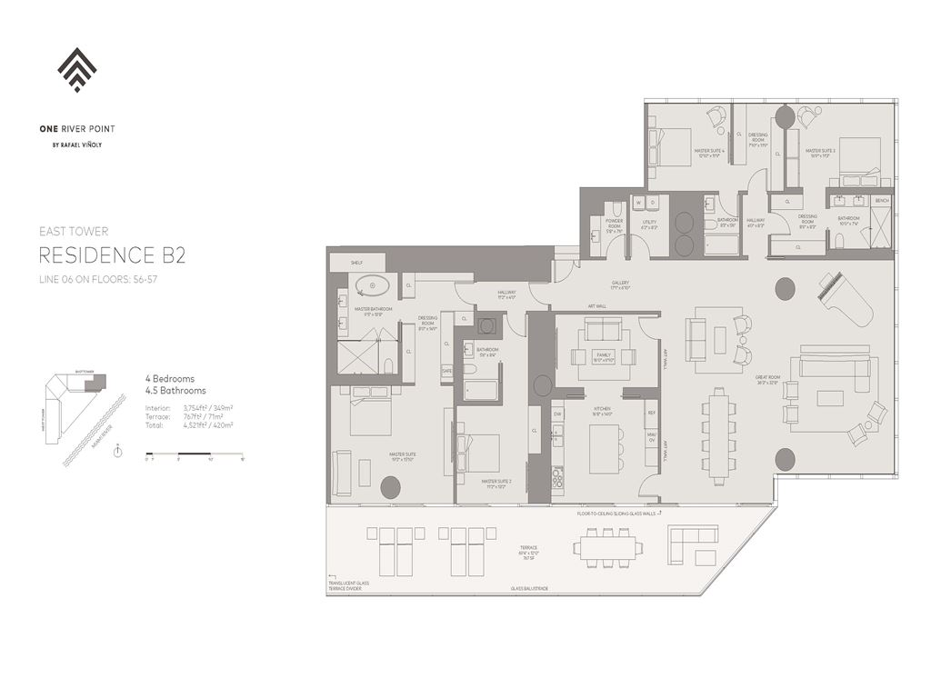 One River Point - Unit #06-E-Floors-56-57 with 3754 SF