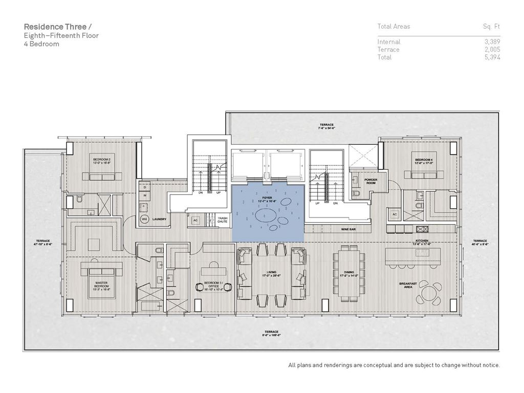 Glass Miami Beach - Unit #03B-Floors 8-15 with 3389 SF