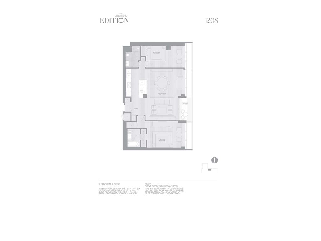 EDITION Miami Beach Residences - Unit #1208 with 1487 SF