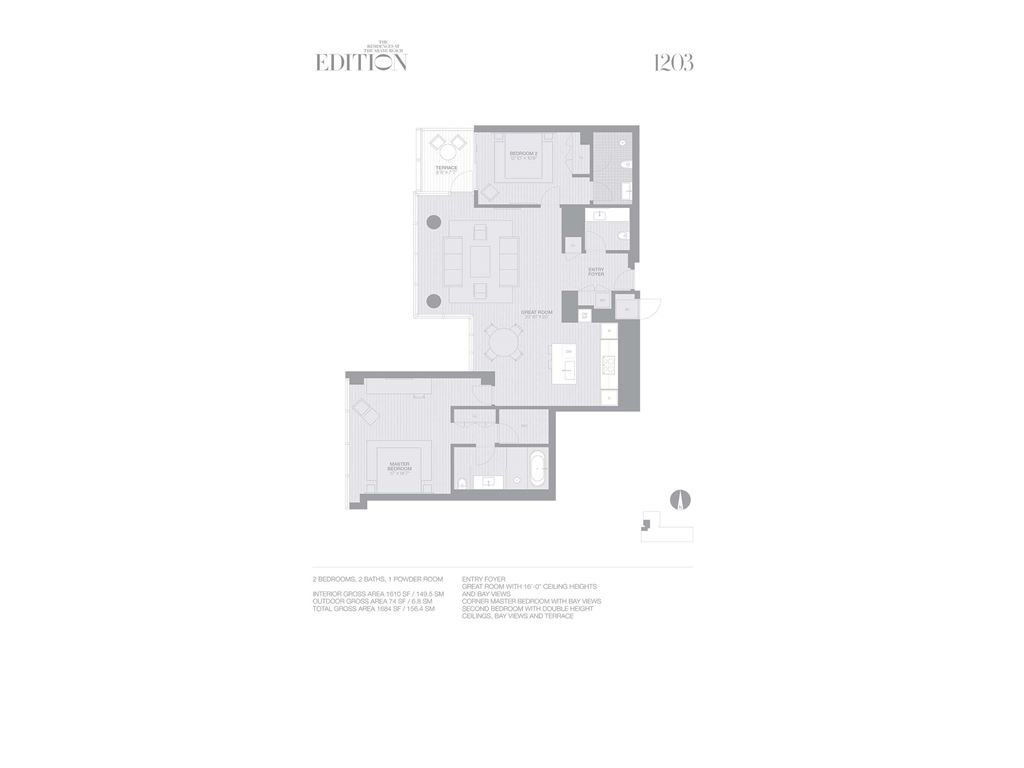EDITION Miami Beach Residences - Unit #1203 with 1610 SF