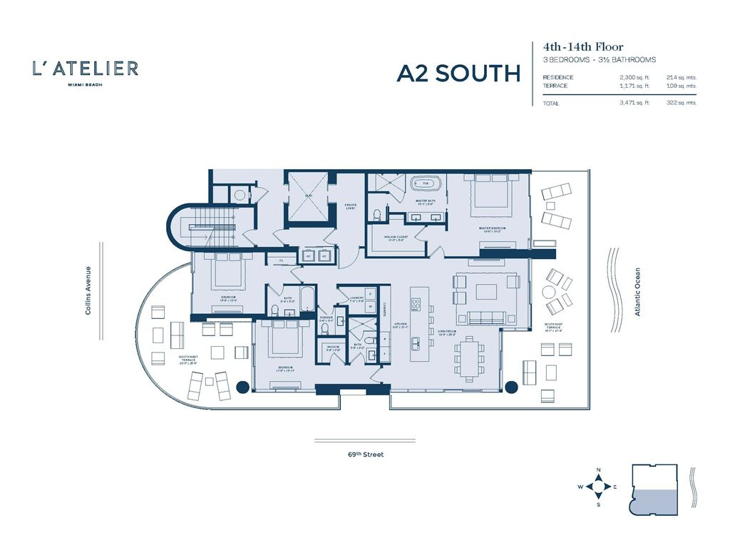 L'Atelier Miami Beach - Unit #A2-02-South Floors 4-14 with 2300 SF