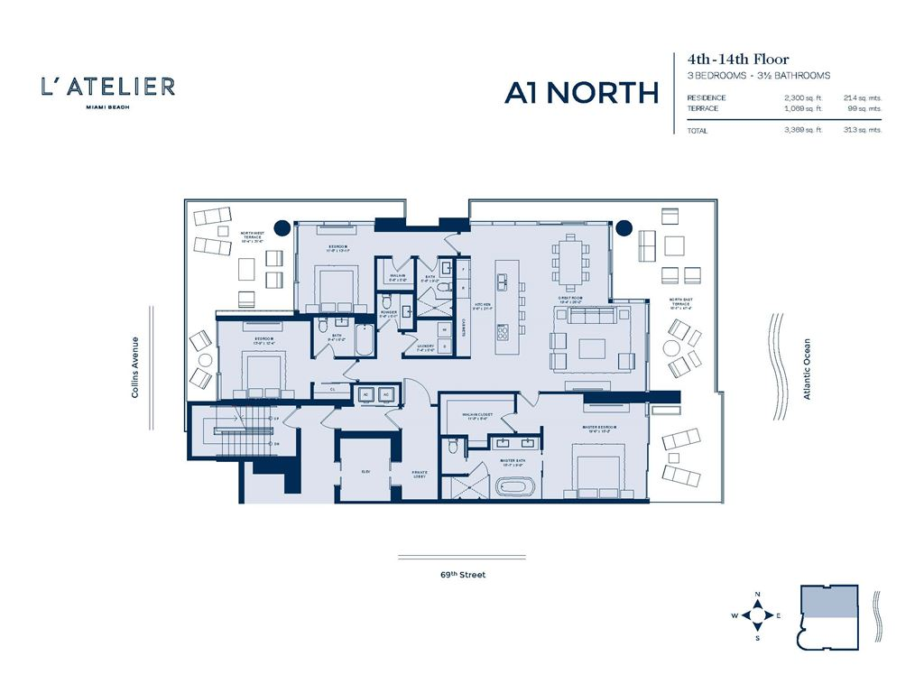 L'Atelier Miami Beach - Unit #A1-01-North Floors 4-14 with 2300 SF