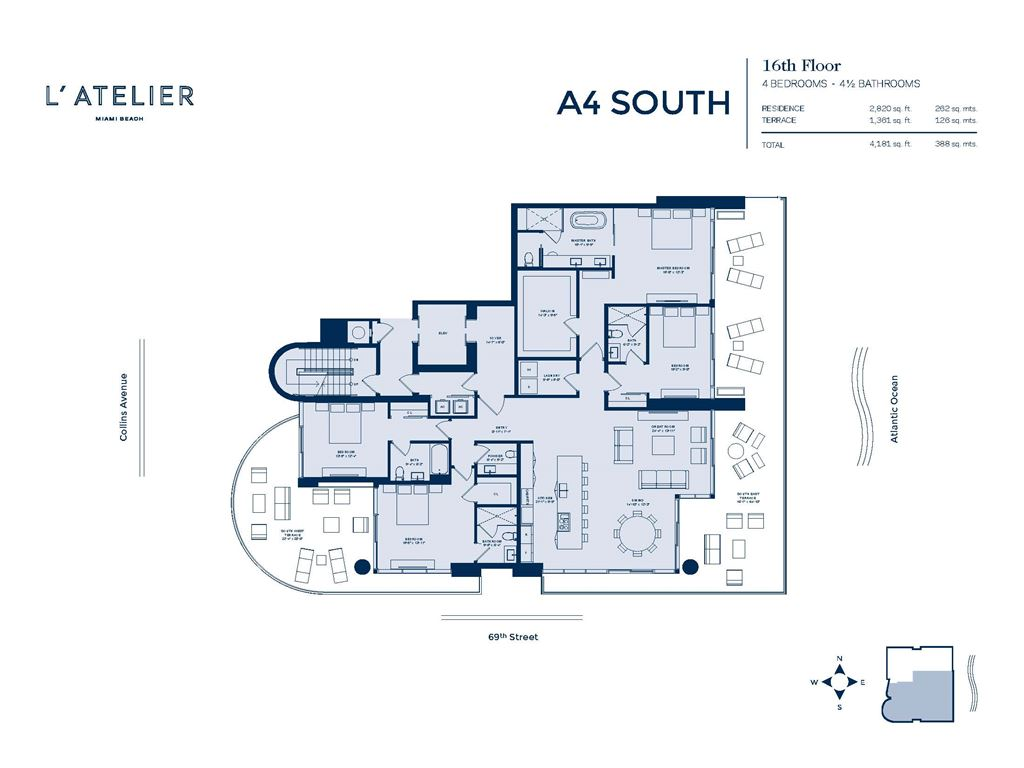 L'Atelier Miami Beach - Unit #A4-02-South Floor 16 with 2820 SF
