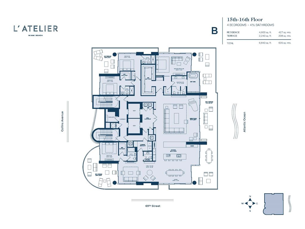 L'Atelier Miami Beach - Unit #B-01-Floors 15-16 with 4600 SF