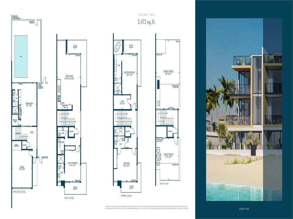 Ocean Six Terraces - Unit #Ocean Two - South Corner with 3472 SF