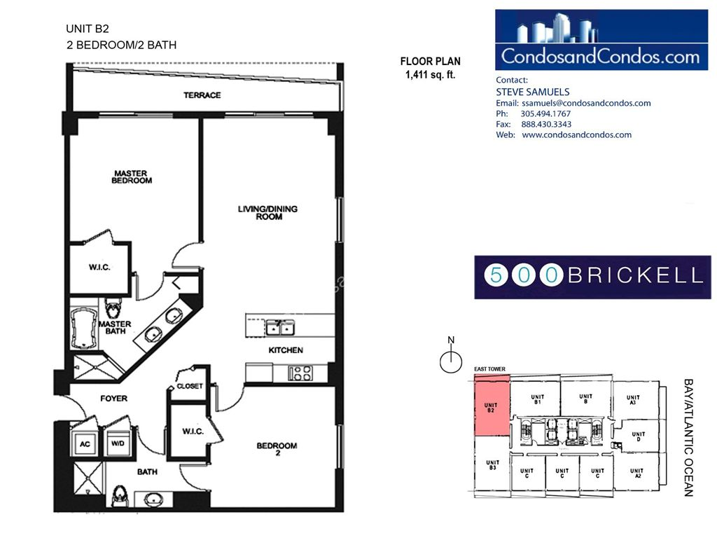 500 Brickell East - Unit #B2 with 1411 SF