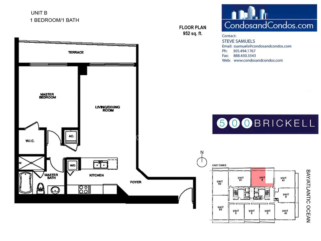 500 Brickell East - Unit #B with 952 SF