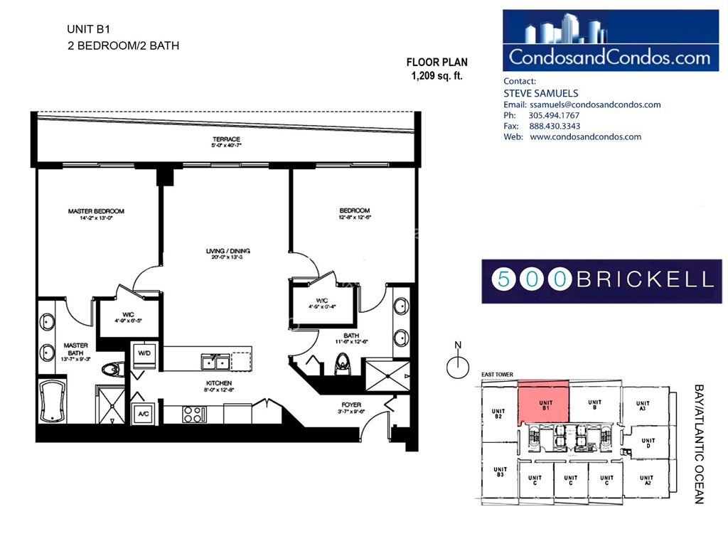 500 Brickell East - Unit #B1 with 1209 SF