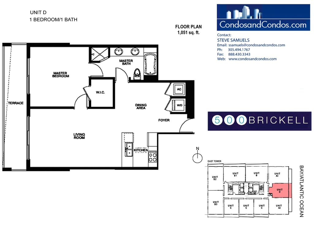 500 Brickell East - Unit #D with 1051 SF
