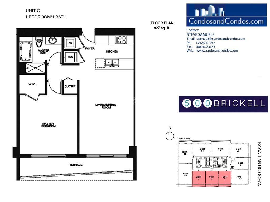 500 Brickell East - Unit #C with 927 SF