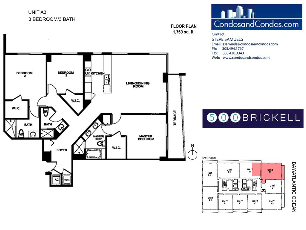 500 Brickell East - Unit #A3 with 1769 SF