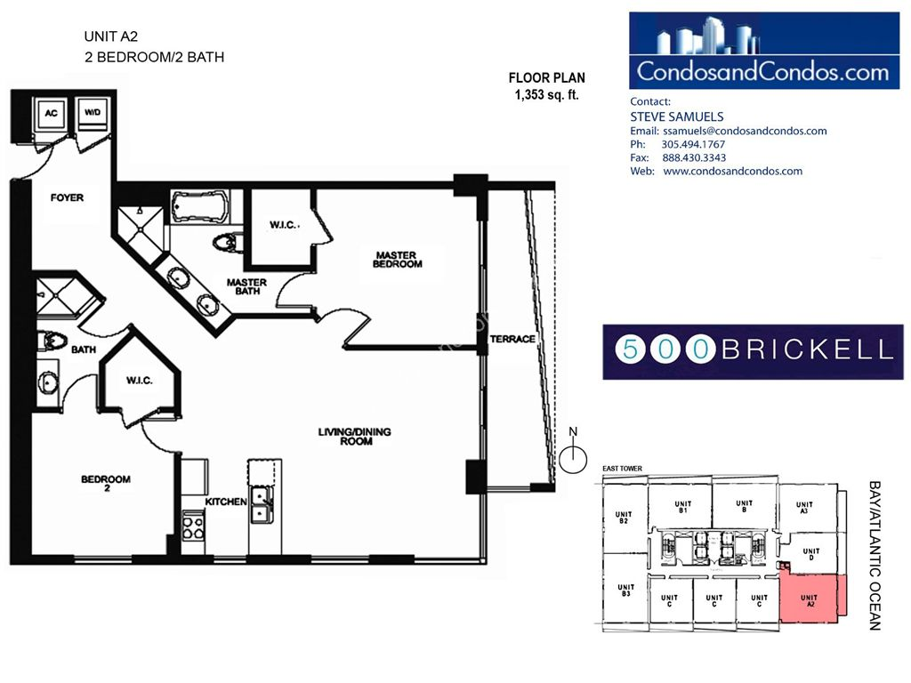 500 Brickell East - Unit #A2 with 1353 SF