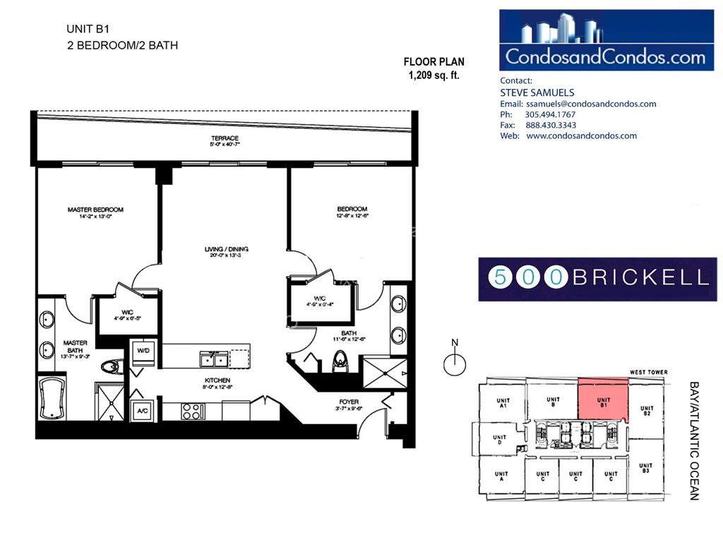 500 Brickell West - Unit #B1 with 1209 SF