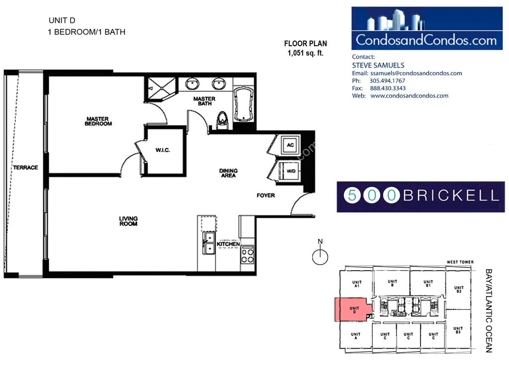 500 Brickell West - Unit #D with 1051 SF