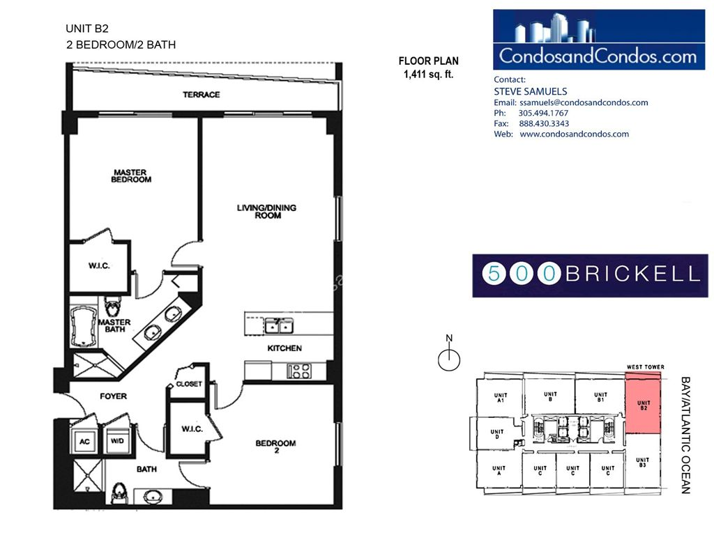 500 Brickell West - Unit #B2 with 1411 SF