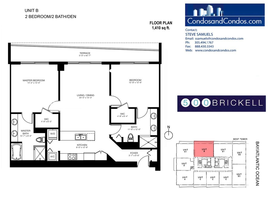 500 Brickell West - Unit #B with 1410 SF