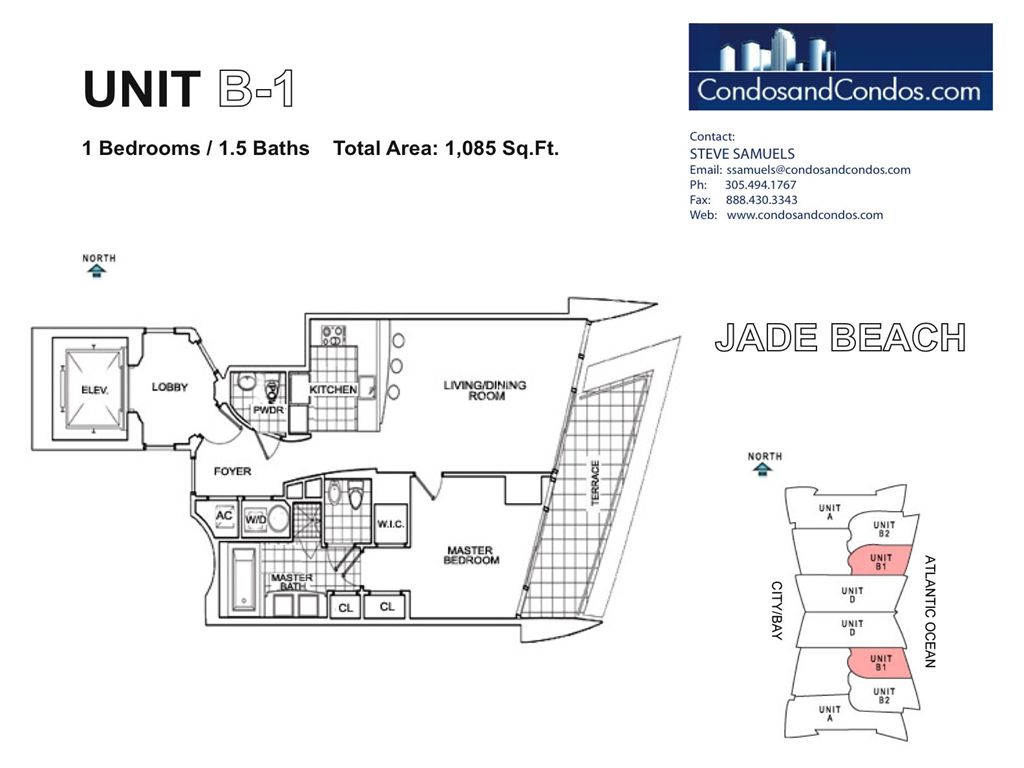 Jade Beach - Unit #B1 with 1085 SF