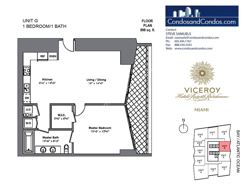 Icon Brickell III (W Miami) - Unit #G with 898 SF