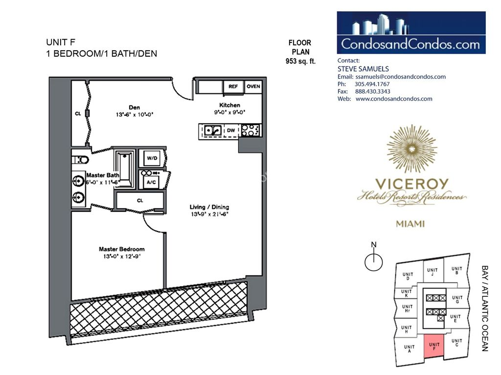 Icon Brickell III (W Miami) - Unit #F with 953 SF