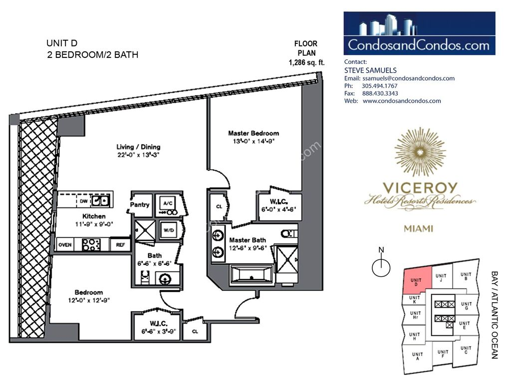 Icon Brickell III (W Miami) - Unit #D with 1286 SF