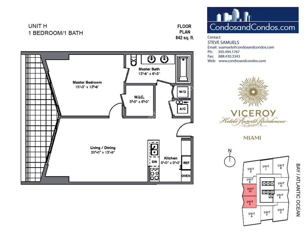 Icon Brickell III (W Miami) - Unit #H with 842 SF