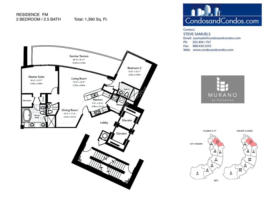 Murano at Portofino - Unit #FM with 1390 SF