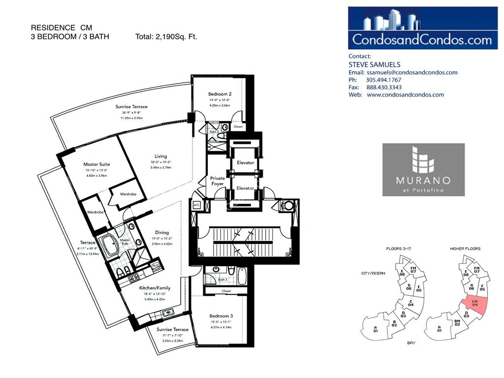 Murano at Portofino - Unit #CM with 2190 SF
