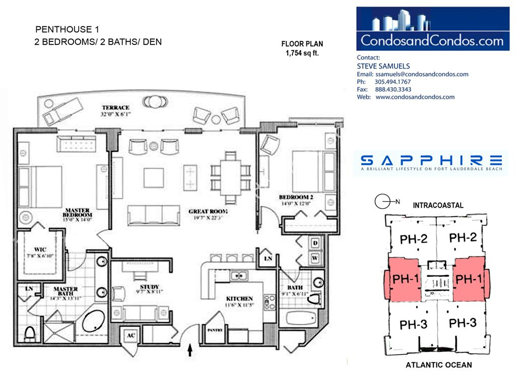 Sapphire - Unit #Penthouse 01 with 1754 SF