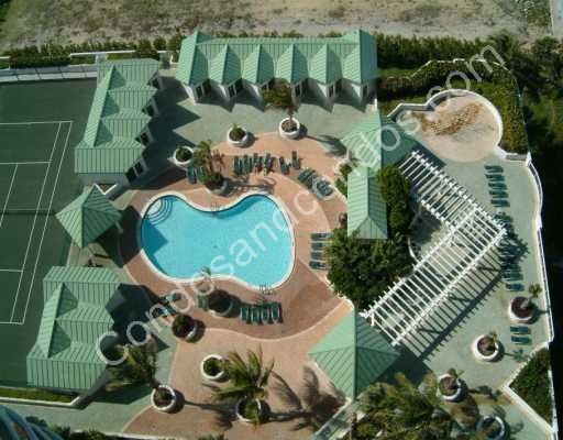 Ariel view of La Perla courtyard and pool